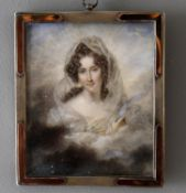 Y J Lecourt (French fl. 1804-1831) - two portrait miniatures on ivory of courtly women