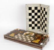 Y A Vizagapatam ebony and ivory folding chess board
