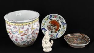 Asian ceramics including a Chinese famille rose jardinière