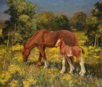 λ Edward Seago (British 1910-1974), Horses in a Norfolk landscape