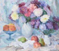 Lena Kurovska (Ukranian b. 1969), Still life of flowers, apples and pears
