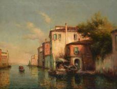 λ Noel Georges Bouvard (French 1912-1975), Gondolas, A Venetian View