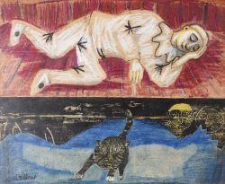 λ Gerard Dillon (Irish 1916-1971), Untitled (Pierrot and cat)