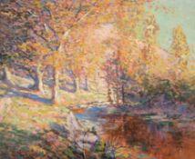 Henry William Phelan Gibb (British 1870-1948), Wooded landscape with stream