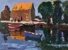 λ Donald McIntyre (British 1923-2009), Boats and Mill