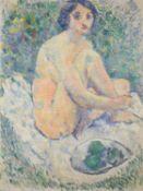 Follower of Henri Lebasque (20th century), Jeune femme a la Corbeille de Fruits