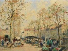 Paul Emile Lecomte (French 1877-1950), Scène de marché