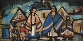 λ Markey Robinson (Irish 1917-1999), Shawlies in the village