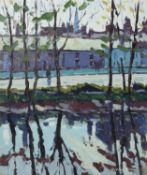 λ Henry Healy (Irish 1909-1982), Trees along the riverbank