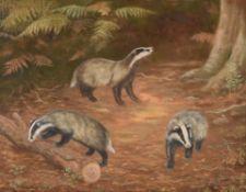 λ Madeline Selfe (British 1905-2005), Three badgers in a wood clearing
