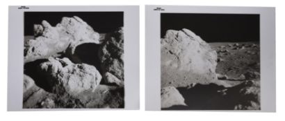 Diptych: views of lunar boulders during scientific experiments, Apollo 14, February 1971, EVA 2