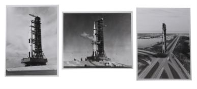 Three views of the Saturn V rocket on the launch pad, Apollo 15, July-August 1971