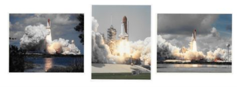 Three lift-off views of Space Shuttle 'Atlantis', May-October 1989