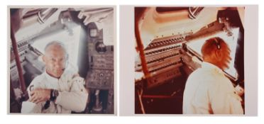 Diptych: Buzz Aldrin weightless inside 'Eagle' during the outbound journey, Apollo 11, July 1969