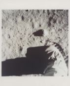 Astronaut's boot makes an impression in the lunar soil, Apollo 11, July 1969