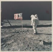 Buzz Aldrin salutes the American flag, Apollo 11, July 1969