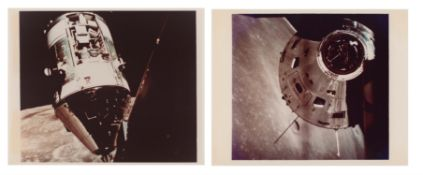 Diptych: rendezvous of the CM 'America' and LM 'Challenger' in lunar orbit, Apollo 17, December 1972
