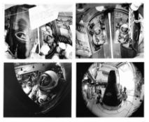 Pre-flight prepartions during final moments before the launch [five views], Gemini 9A, June 1966