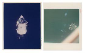 Diptych: the CSM 'Kitty Hawk' in lunar orbit; jettison of 'Antares', Apollo 14, Jan-Feb 1971
