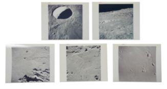 Five moonscapes photographed from orbit; Sinus Medii, Keeler, Schmidt, Apollo 10, May 1969