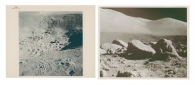 Moonscapes at Shorty Crater's station 4 and Camelot Crater's station 5, Apollo 17, December 1972