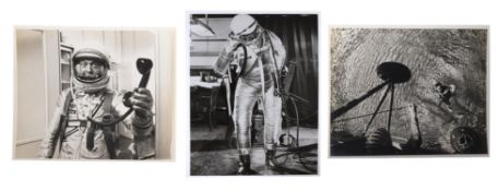 Three views of Alan Shepard, the first American astronaut, Mercury Redstone 3, May 1961