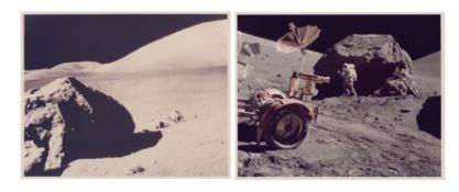 Views of the Lunar Rover and Harrison Schmitt near Tracy's Rock, station 6, Apollo 17, December 1972