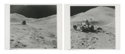 Hadley Base and David Scott working at the Lunar Rover (station 9A), Apollo 15, July-August 1971