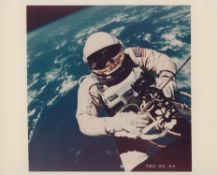 The first photograph of a human in space taken during the first U.S. spacewalk, Gemini 4, June 1965
