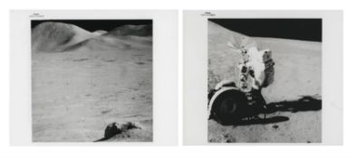 Views of the green boulder and David Scott with the Lunar Rover, Apollo 15, July-August 1971
