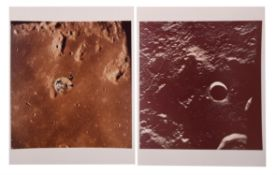 Diptych: CM 'Columbia' over the Sea of Tranquility from the LM 'Eagle', Apollo 11, July 1969