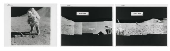 David Scott digging a trench and panoramic sequences of the ALSEP site, Apollo 15, July-August 1971