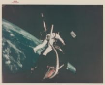 Buzz Aldrin at the Agena work station during his EVA over Earth, Gemini 12, November 1966