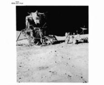 A view of the Lunar Rover next to the Lunar Module 'Orion', Apollo 16, April 1972