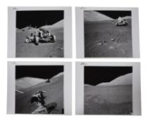 Four views of the Lunar Rover; the Rover at its final parking place, Apollo 17, December 1972