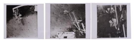 Three self-portraits of Surveyor 3 collecting lunar soil samples, Surveyor 3, April-May 1967