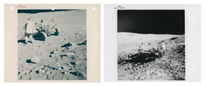 Diptych at Stone Mountain station: the crew, the Rover & the barren moonscape, Apollo 16, April 1972