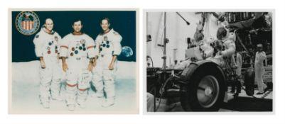 Portrait of the crew; the Lunar Module crew in the Rover, Apollo 16, November 1971-January 1972