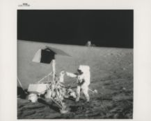 Pete Conrad examining the Surveyor 3 robot spacecraft, Apollo 12, November 1969, EVA 2