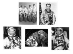 Portrait of the first team and four views of pre-flight activities, Gemini 3 , March 1965