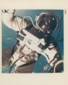 A close-up of Ed White during the first American spacewalk, Gemini 4, June 1965
