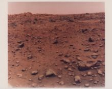 The historic first colour photograph taken on the surface of Mars, the Red Planet, 21 July 1976