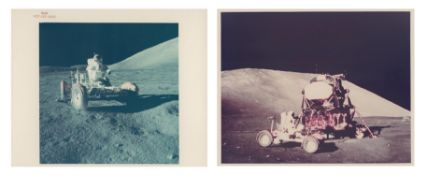 Diptych: Eugene Cernan testing the Lunar Rover and parking it by the LM, Apollo 17, December 1972