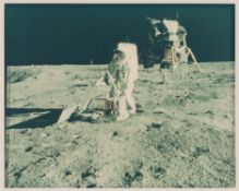 Diptych: Buzz Aldrin setting up scientific equipment, Apollo 11, July 1969