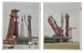 Gemini Titan II and Atlas-Agena on launch pads [two prints], Gemini 10, July 1966