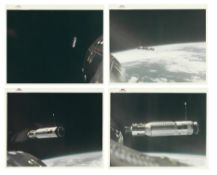 Four views of the Agena Target Docking Vehicle at a decreasing distance, Gemini 8, March 1966
