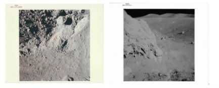 Four moonscapes; a view of orange soil discovered during the last mission, Apollo 17, December 1972