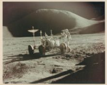 Portrait of James Irwin and the Lunar Rover in front of Mount Hadley, Apollo 15, July-August 1971