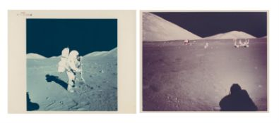 Lunar scenes: Harrison Schmitt working with the rake and at the SEP site, Apollo 17, December 1972