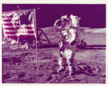 The last man to walk on the Moon salutes the American flag, Apollo 17, December 1972